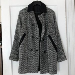 Topshop Double Breasted Houndstooth Coat